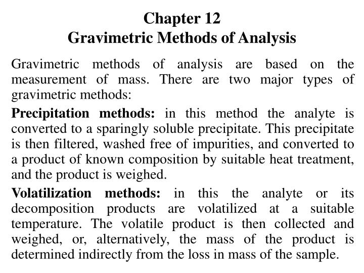 Chapter 12 gravimetric methods of analysis l.jpg