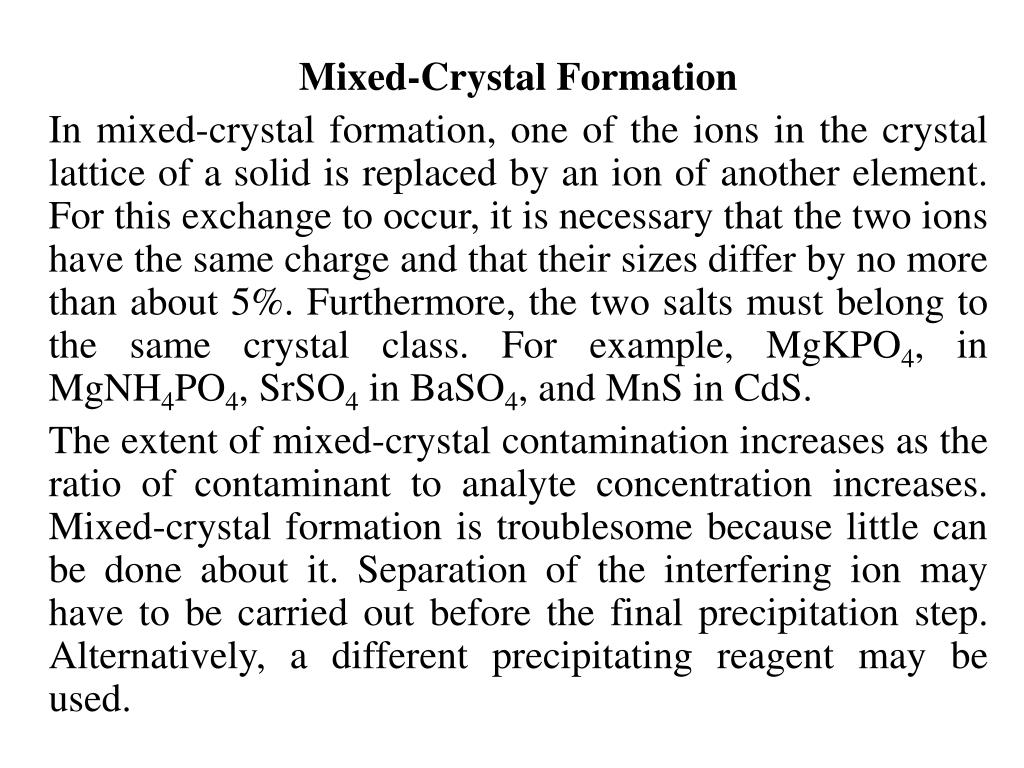 Mixed-Crystal Formation