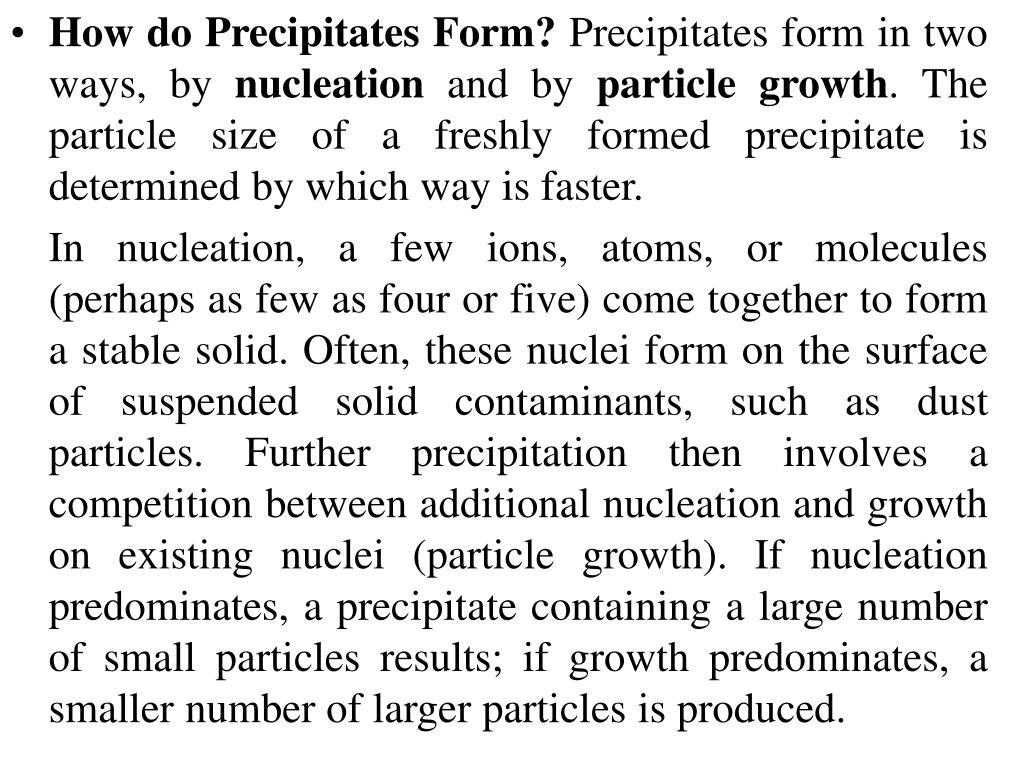 How do Precipitates Form?
