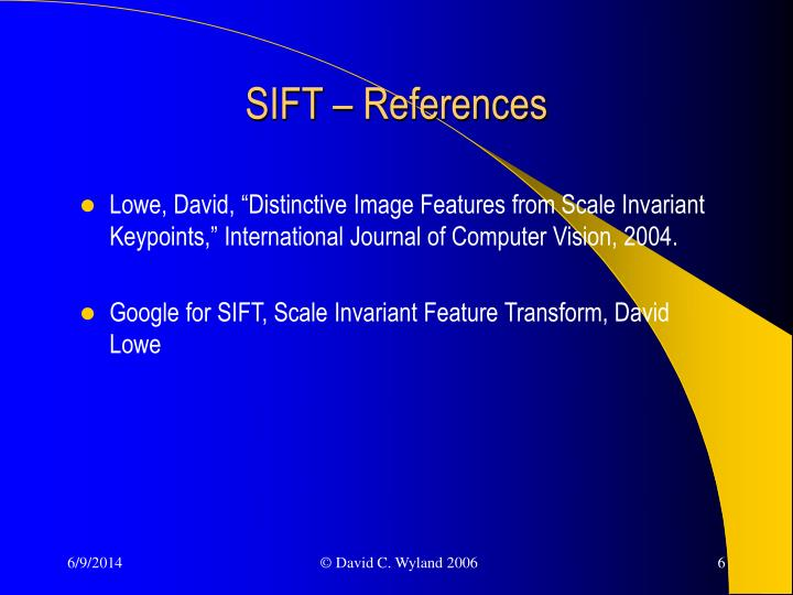SIFT – References