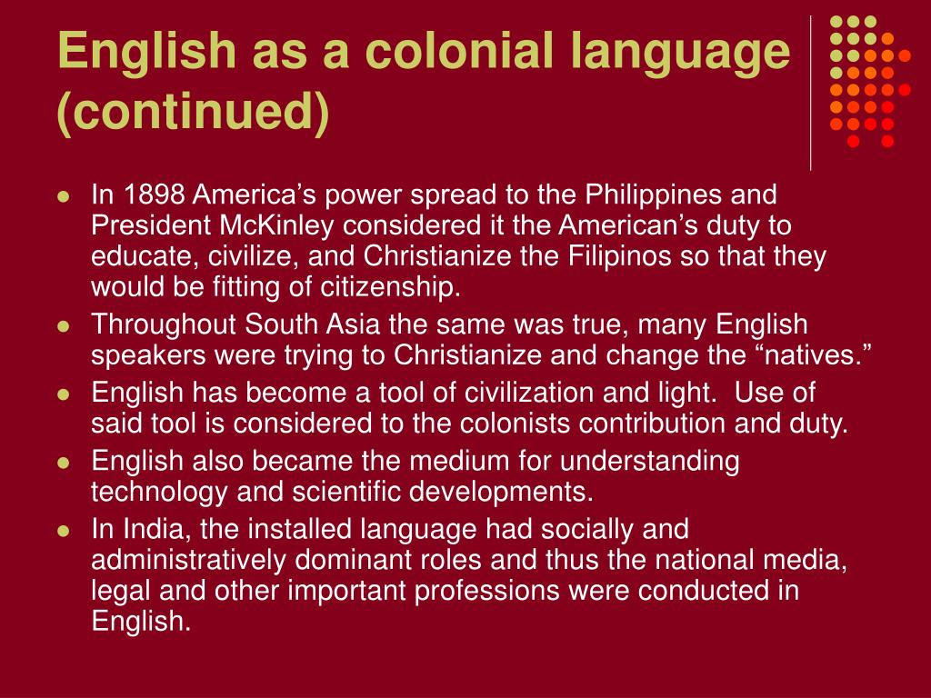 English as a colonial language (continued)