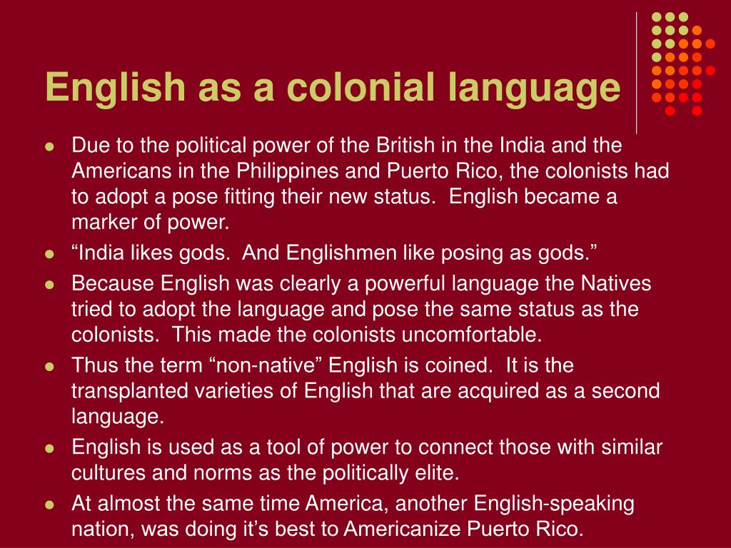 English as a colonial language