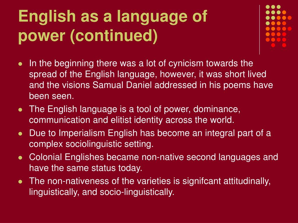 English as a language of power (continued)