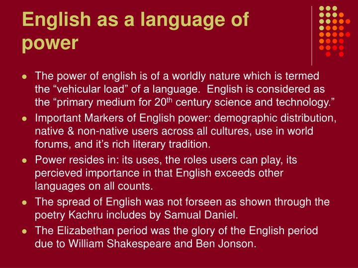 English as a language of power l.jpg
