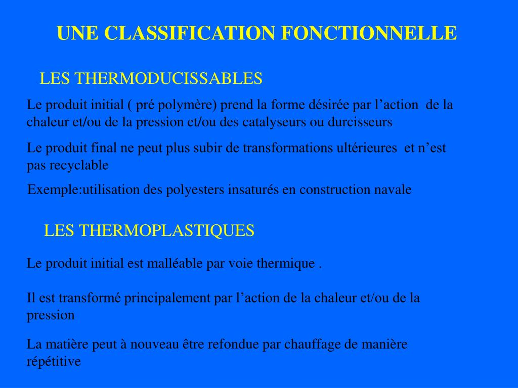UNE CLASSIFICATION FONCTIONNELLE