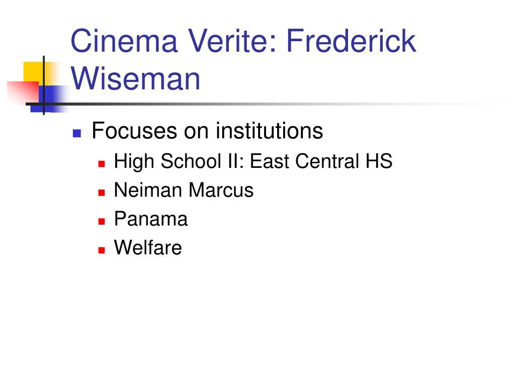 Cinema Verite: Frederick Wiseman