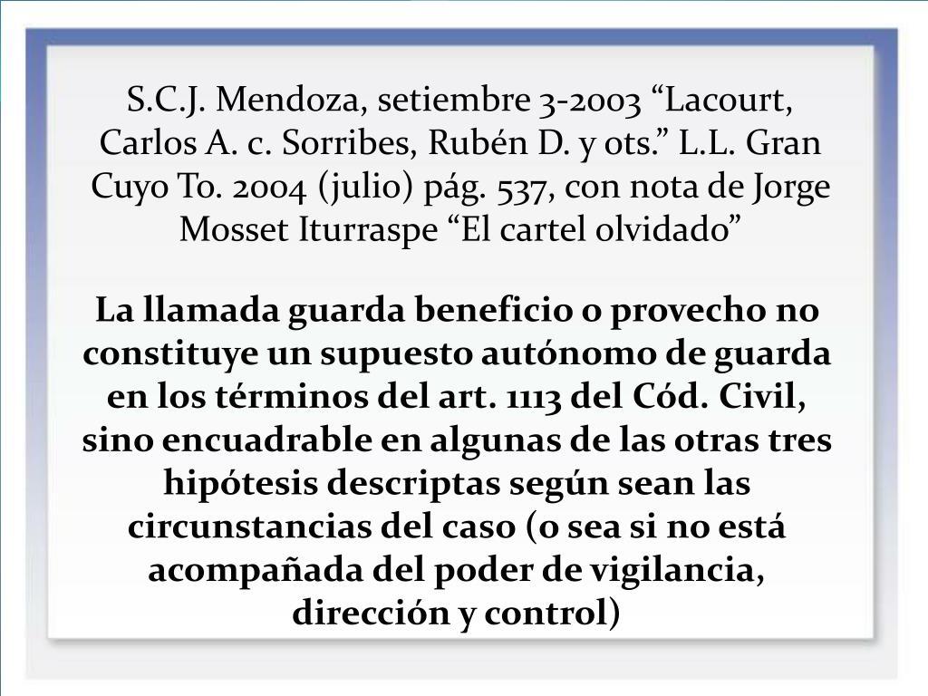 """S.C.J. Mendoza, setiembre 3-2003 """"Lacourt, Carlos A. c. Sorribes, Rubén D. y ots."""" L.L. Gran Cuyo To. 2004 (julio) pág. 537, con nota de Jorge Mosset Iturraspe """"El cartel olvidado"""""""