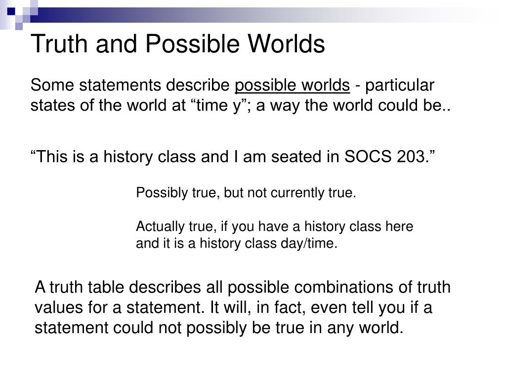 Truth and Possible Worlds
