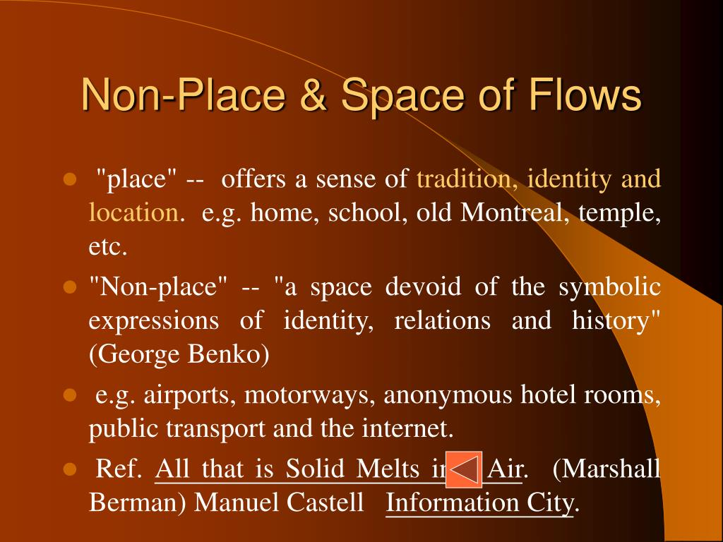 Non-Place & Space of Flows