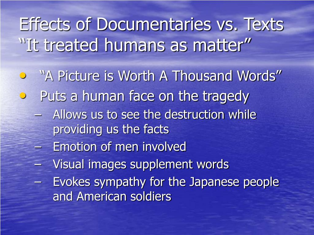 Effects of Documentaries vs. Texts