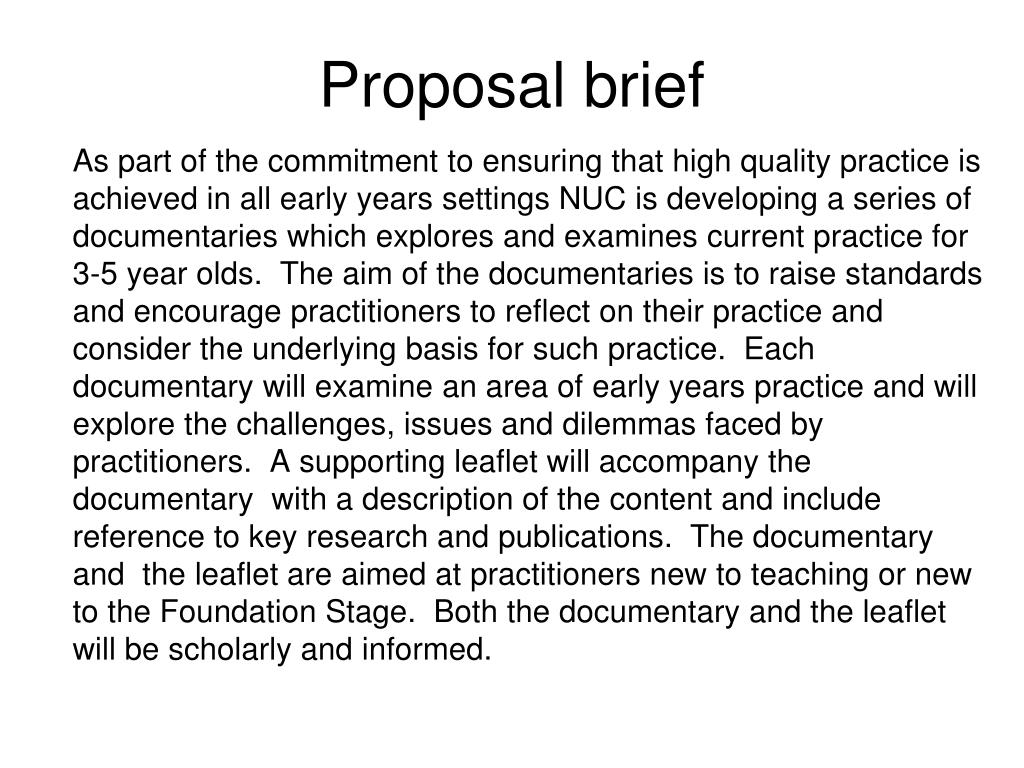 Proposal brief