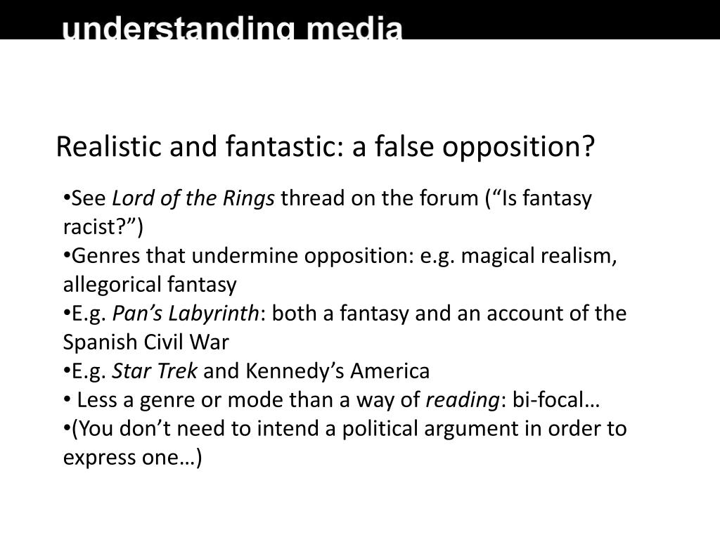 Realistic and fantastic: a false opposition?