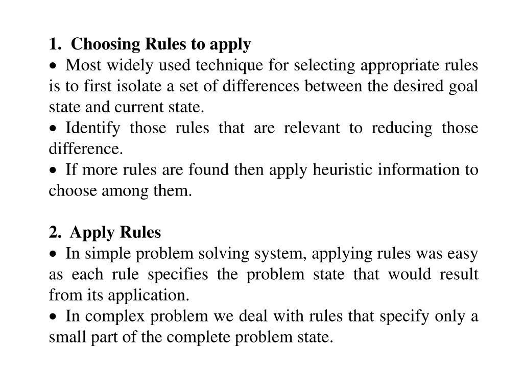 1.  Choosing Rules to apply