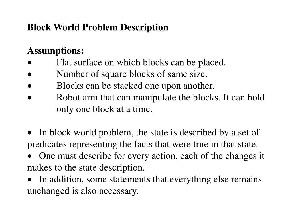Block World Problem Description