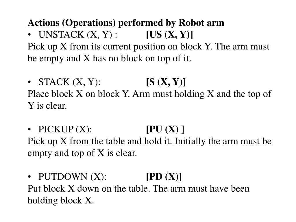 Actions (Operations) performed by Robot arm