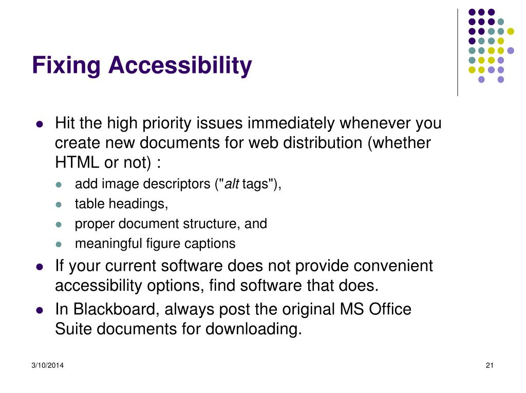 Fixing Accessibility