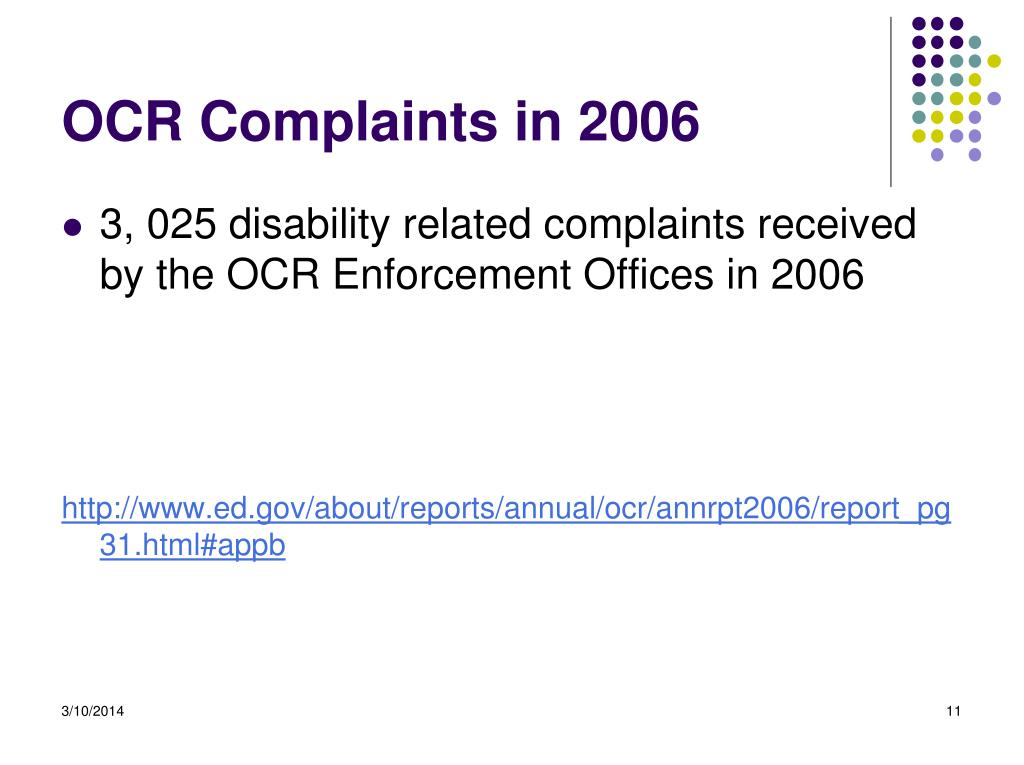 OCR Complaints in 2006