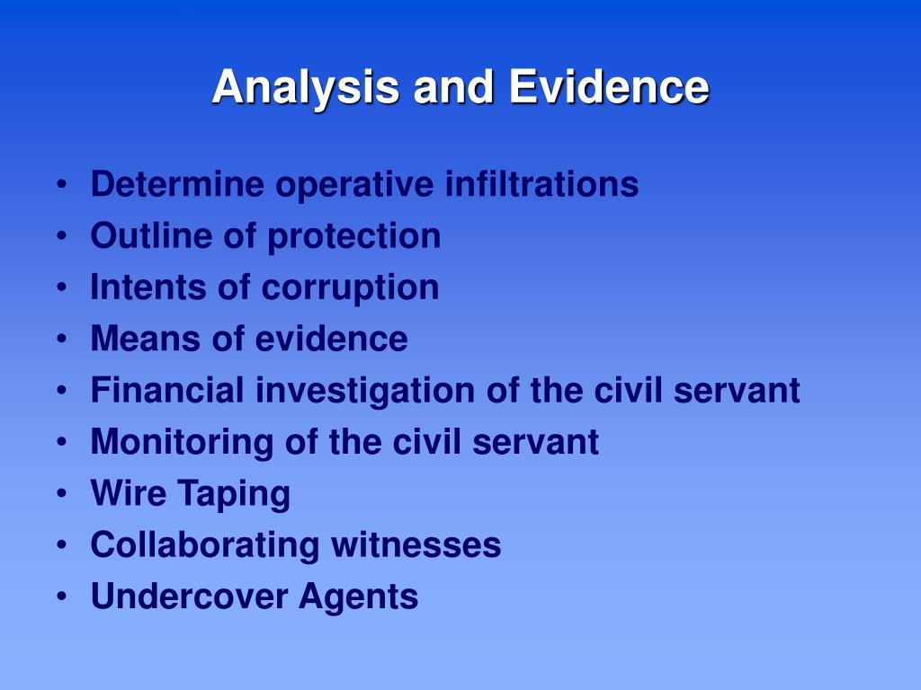 Analysis and Evidence