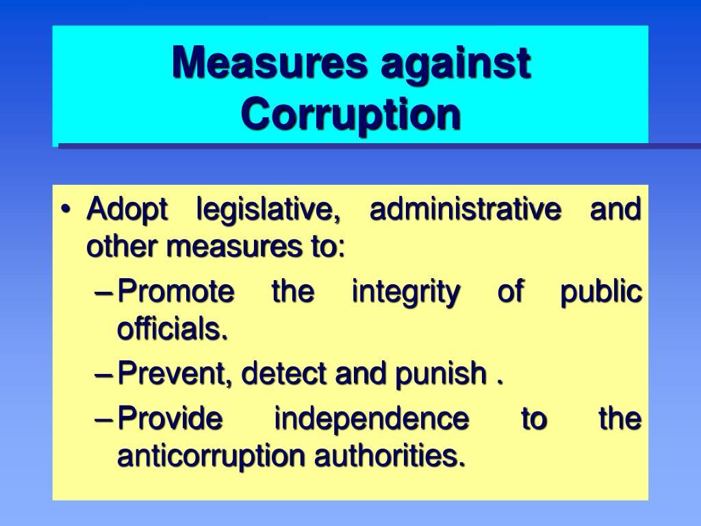 Measures against Corruption