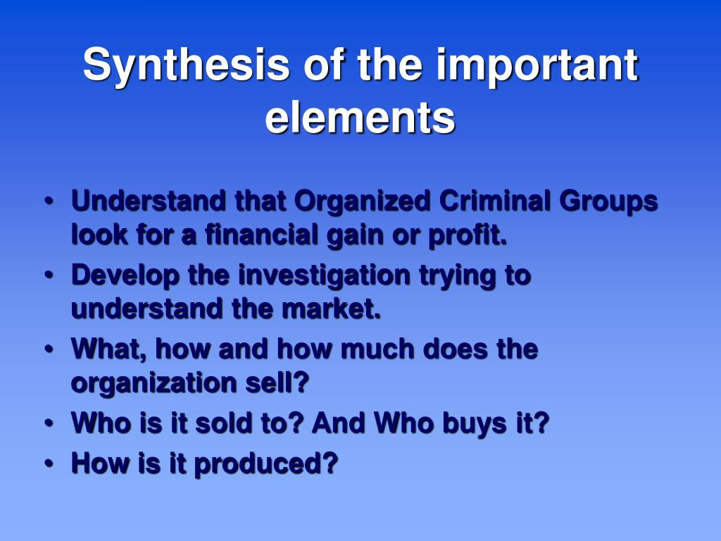Synthesis of the important elements