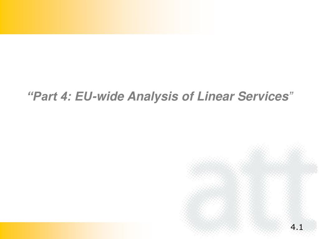 """Part 4: EU-wide Analysis of Linear Services"