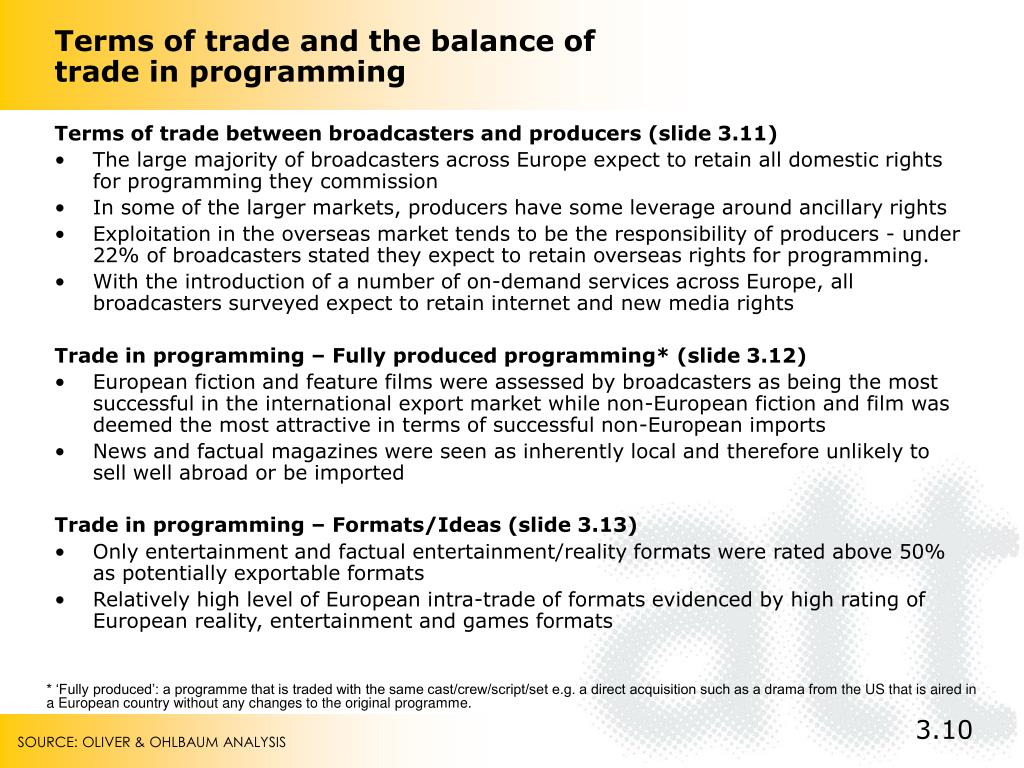 Terms of trade and the balance of trade in programming