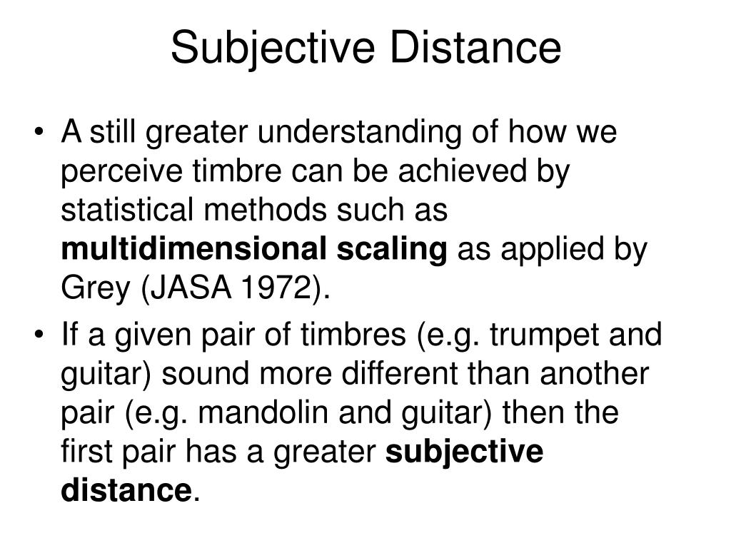 Subjective Distance