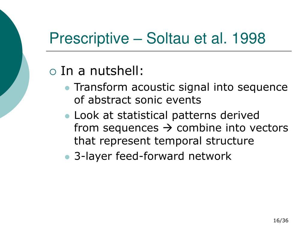 Prescriptive – Soltau et al. 1998