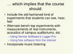 which implies that the course should