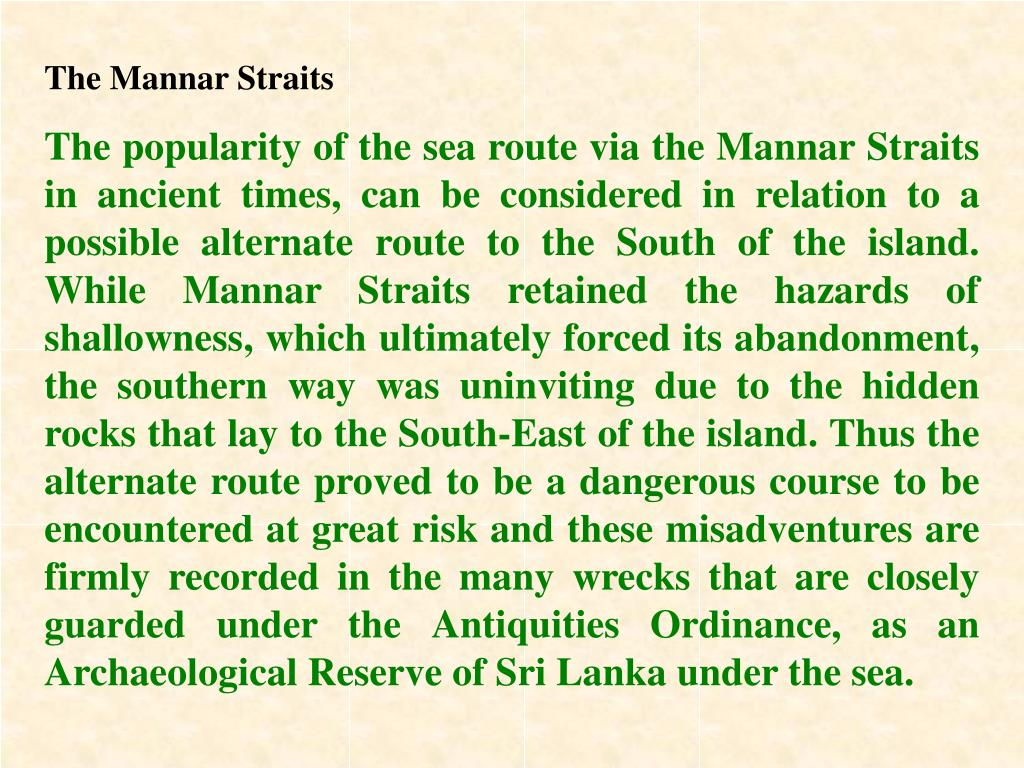The Mannar Straits