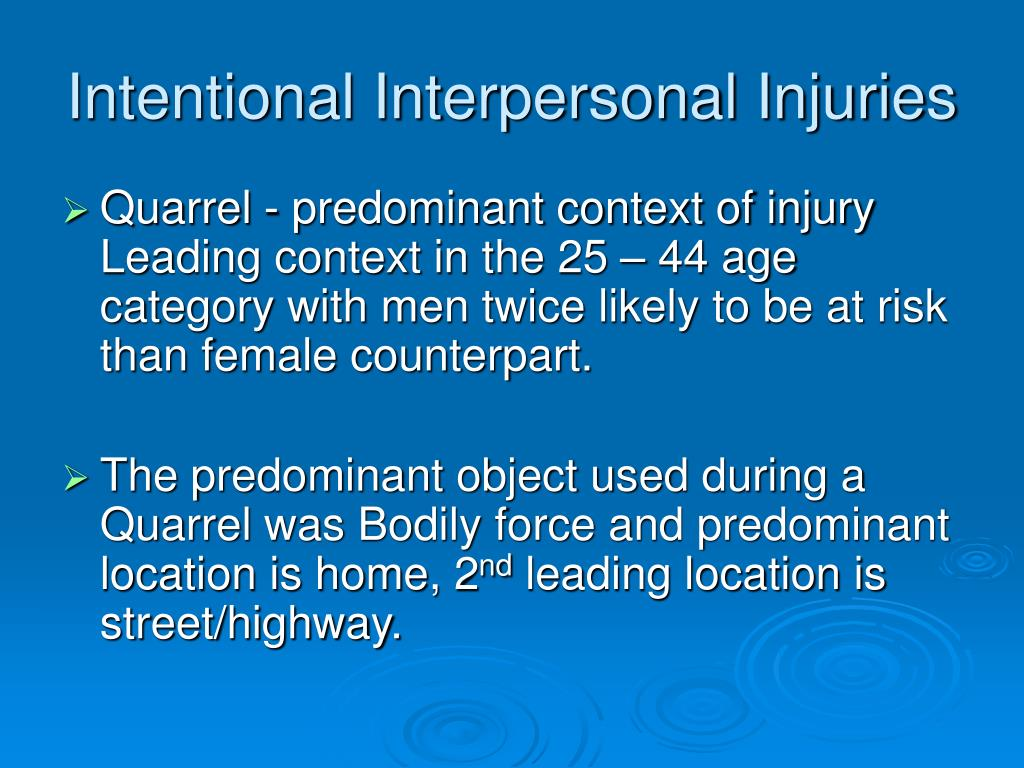 Intentional Interpersonal Injuries