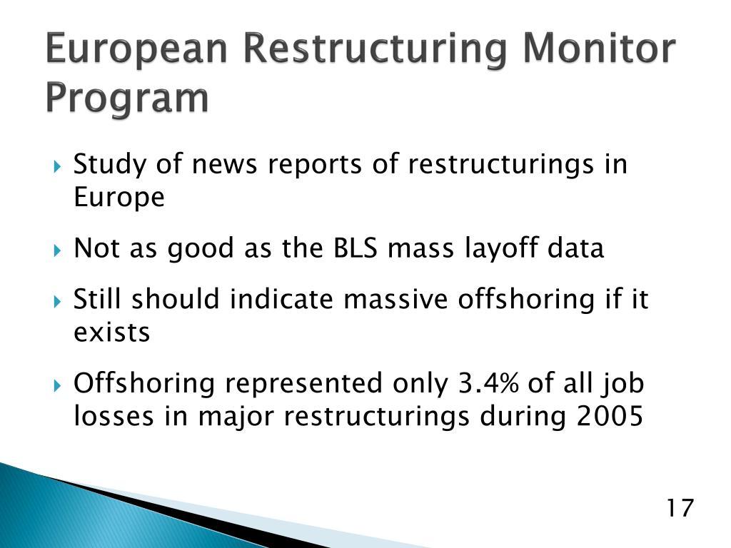 European Restructuring Monitor Program