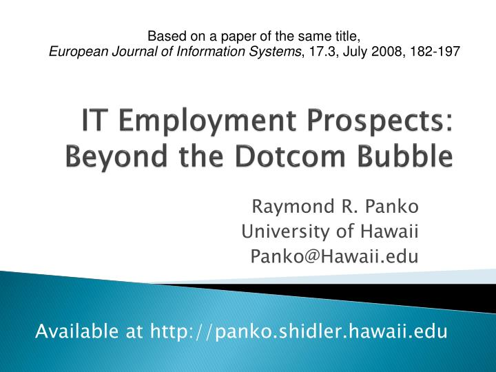 It employment prospects beyond the dotcom bubble