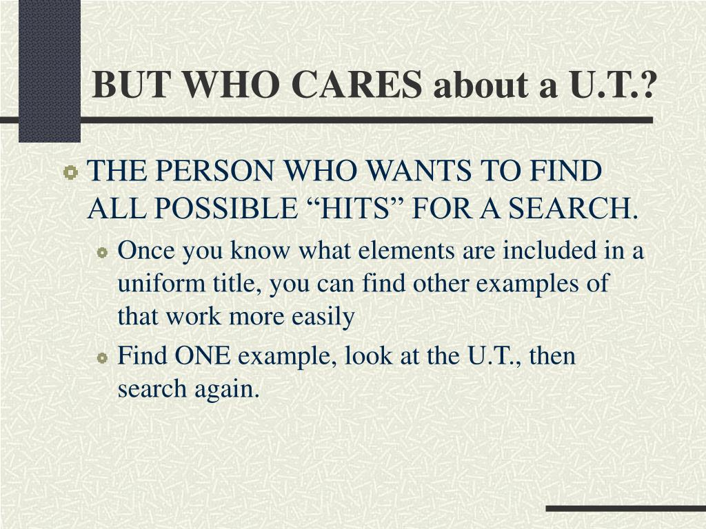 BUT WHO CARES about a U.T.?