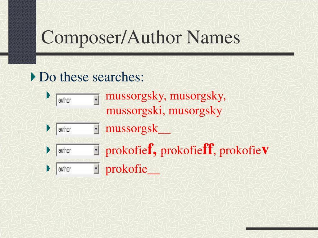 Composer/Author Names
