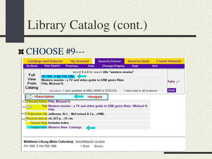 Library catalog cont