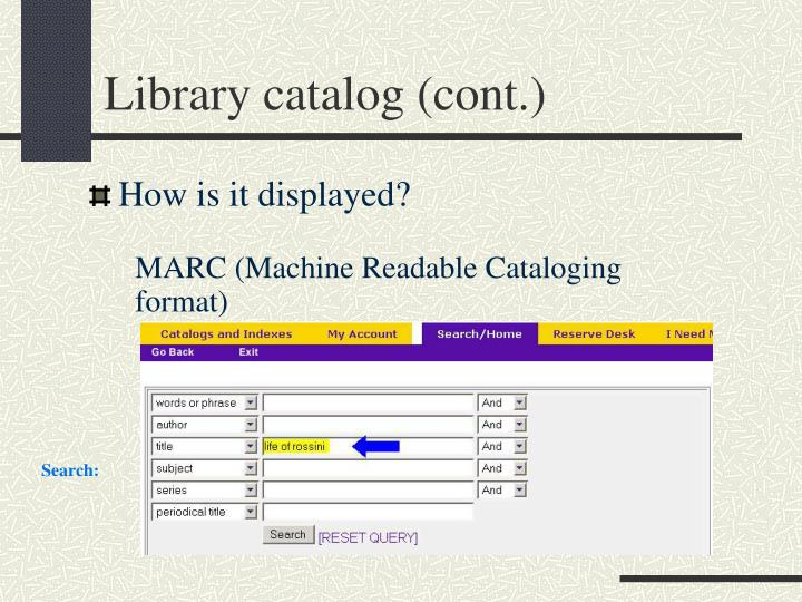 Library catalog cont3
