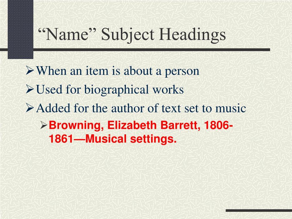 """Name"" Subject Headings"