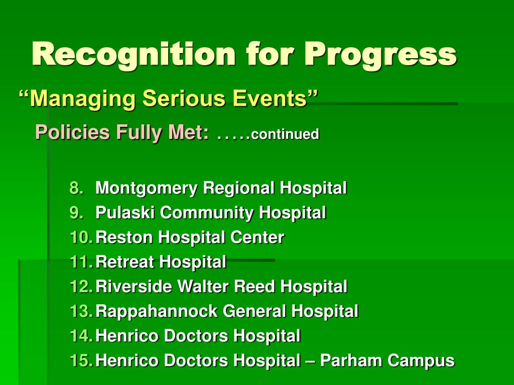 Recognition for Progress