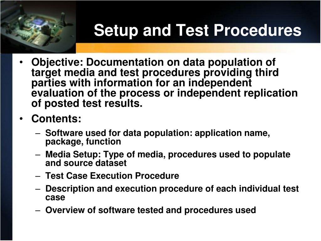 Setup and Test Procedures