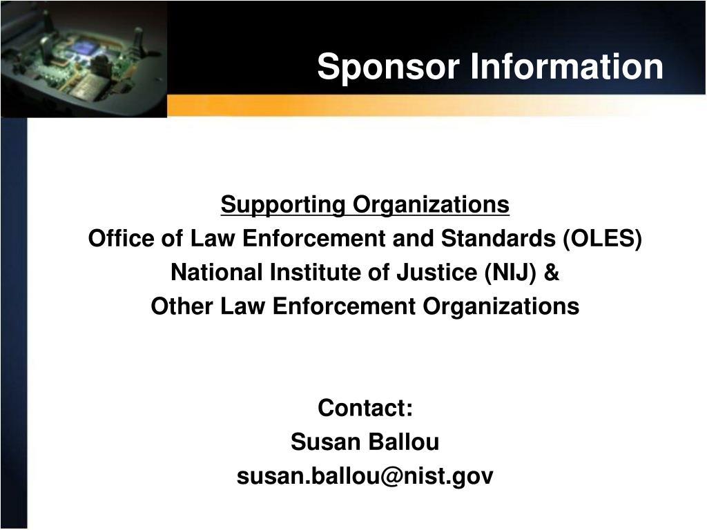 Sponsor Information