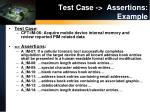 test case assertions example