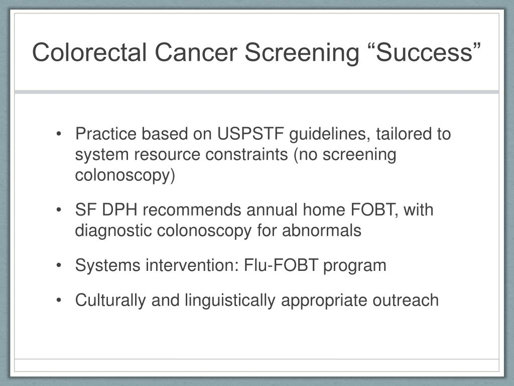 "Colorectal Cancer Screening ""Success"""