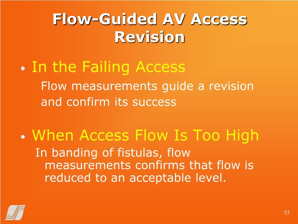 Flow-Guided AV Access Revision