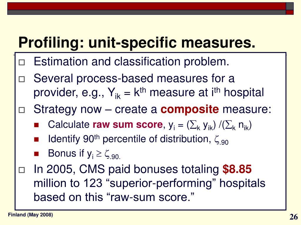 Profiling: unit-specific measures.