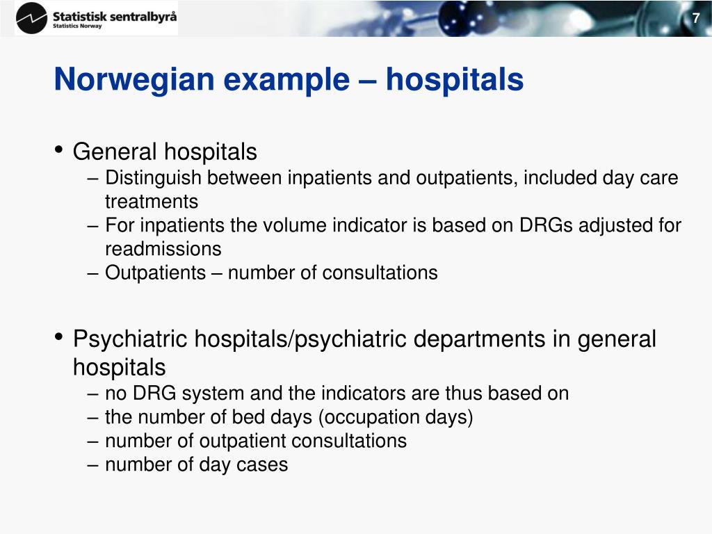 Norwegian example – hospitals