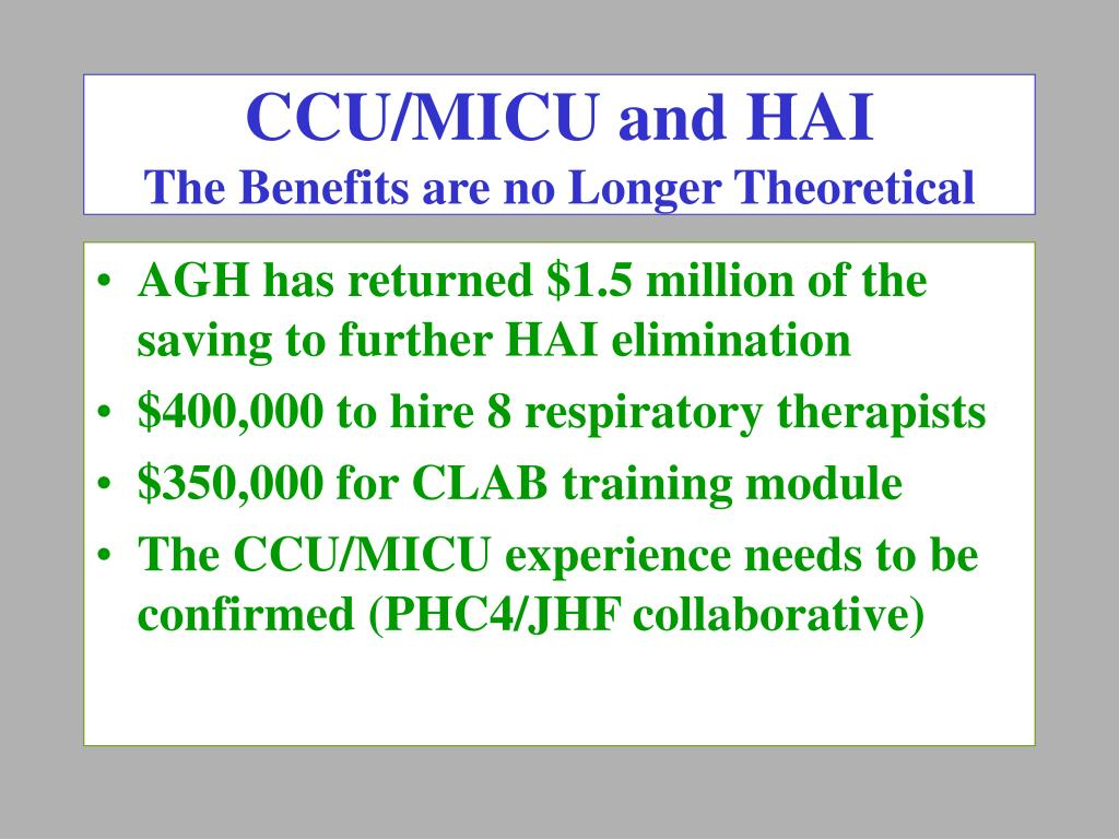 CCU/MICU and HAI