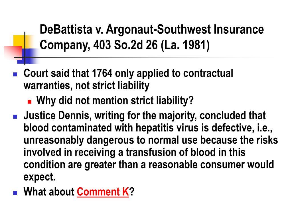 DeBattista v. Argonaut-Southwest Insurance Company, 403 So.2d 26 (La. 1981)