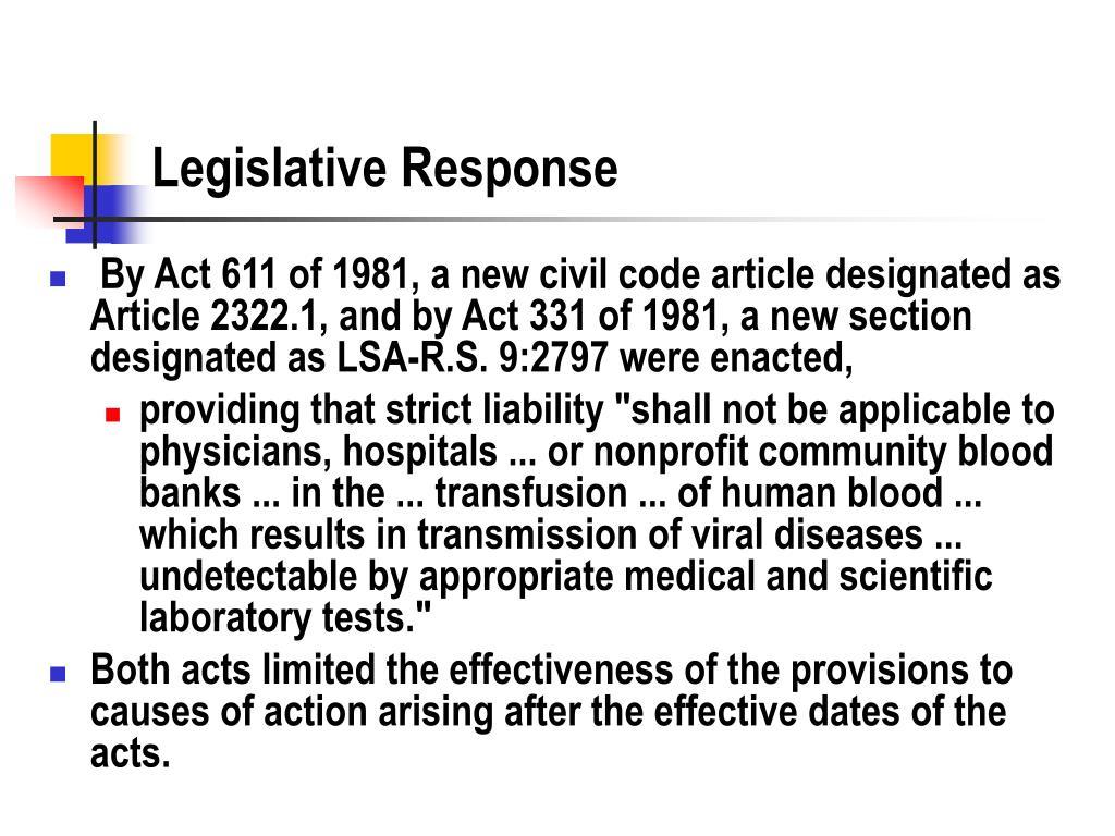 Legislative Response