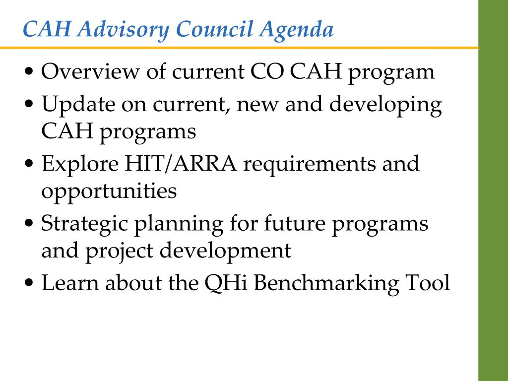 CAH Advisory Council Agenda